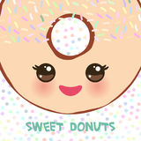 Kawaii colorful donut with pink cheeks and winking eyes, Sweet brown donut with icing and sprinkls isolated, banner design, card t. Emplate, pastel colors on Royalty Free Stock Photo