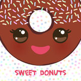 Kawaii colorful donut with pink cheeks and winking eyes, Sweet brown donut with brown icing and sprinkls isolated, banner design,. Card template, pastel colors Royalty Free Stock Image