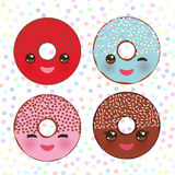 Kawaii colorful donut with pink cheeks and winking eyes, Sweet donuts set with icing and sprinkls isolated, banner design, card te. Mplate, pastel colors on Stock Photos
