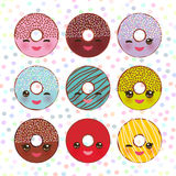 Kawaii colorful donut with pink cheeks and winking eyes, Sweet donuts set with icing and sprinkls isolated, banner design, card te. Mplate, pastel colors on Royalty Free Stock Images