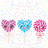 Kawaii Colorful Set Candy Lollipops With Bow, Spiral Candy Cane. Candy On Stick With Twisted Design With Pink Cheeks And Winking Royalty Free Stock Photo