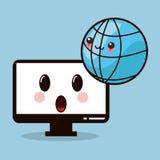 kawaii computer monitor global Royalty Free Stock Images