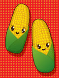 Kawaii corn icons Royalty Free Stock Photo