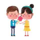 Kawaii couple in love royalty free illustration