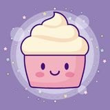 Kawaii cupcake icon. With stars around over purple background, colorful design. vector illustration stock illustration