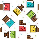 Kawaii cute chocolate colorful seamless pattern Stock Photography