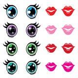 Kawaii cute eyes and lips icons set, Kawaii character Stock Photos