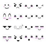 Kawaii cute face in adorable character icons set  Royalty Free Stock Photo
