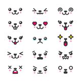 Kawaii cute faces emoticons icon vector set. Characters and emoji, lovely icons cartoon design royalty free illustration