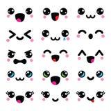 Kawaii cute faces, Kawaii emoticons, adorable characters design Royalty Free Stock Photo