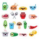 Kawaii cute food characters - meat, vegetables, drinks icons set Stock Image