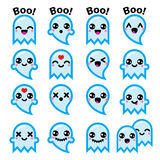 Kawaii cute ghost for Halloween blue icons set Royalty Free Stock Image