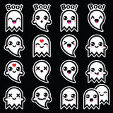 Kawaii cute ghost for Halloween icons set on black