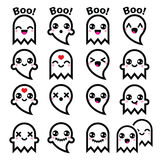 Kawaii cute ghost for Halloween icons set Stock Photo