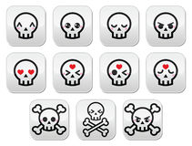 Kawaii cute Halloween skull buttons set Royalty Free Stock Photos