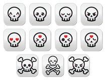 Kawaii cute Halloween skull buttons set Royalty Free Stock Photos