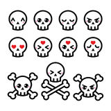 Kawaii cute Halloween skull icons set Royalty Free Stock Photos