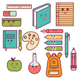 Kawaii Cute Happy School Supplies set Royalty Free Stock Images