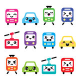 Kawaii cute icons - car, bus, train, tram and gondola Royalty Free Stock Photography