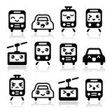Kawaii cute icons - car, bus, train, tram and gondola Royalty Free Stock Photos
