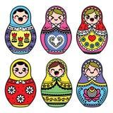 Kawaii cute Russian nesting doll - Matryoshka Royalty Free Stock Images