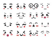 Kawaii cute smile emoticons and japanese anime emoji. Vector kawaii cute smile emoticons and japanese anime emoji faces Royalty Free Stock Photo