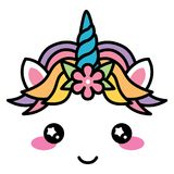 Kawaii cute unicorn face rainbow pastel color with flower Stock Image