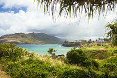 Kawaii delle Hawai con la vista della baia del sole fotografie stock libere da diritti