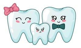 Kawaii dental care vector illustration