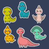 Kawaii dinosaury ustawiający postać z kreskówki dzieci kolorowa graficzna ilustracja ilustracji