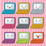 Kawaii doodle laptops set. Illustration of gadgets with various facial expression Stock Photography