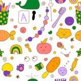 Άνευ ραφής σχέδιο παιδιών kawaii με τα χαριτωμένα doodles στοκ φωτογραφίες με δικαίωμα ελεύθερης χρήσης