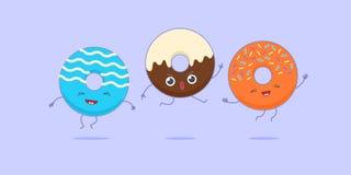 Kawaii drie donuts Royalty-vrije Stock Afbeeldingen