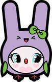 Kawaii dziecka kurczątko w królika kostiumu Zdjęcia Royalty Free