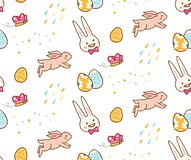 Kawaii easter bunny with egg seamless background royalty free illustration