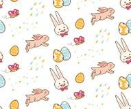 Kawaii Easter królik z jajecznym bezszwowym tłem royalty ilustracja