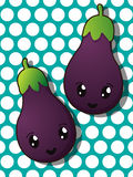 Kawaii eggplant icons Royalty Free Stock Photography