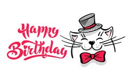 Kawaii en nöjd vit katt med en hatt och en fluga Märka lycklig födelsedag Hälsningkort som drar för din design tecknad hand fotografering för bildbyråer