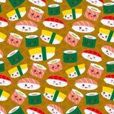 Kawaii för den sömlösa modellen ställde den roliga sushi in med rosa kinder och stora ögon, emoji på brun senapsgult bakgrund vek royaltyfri illustrationer