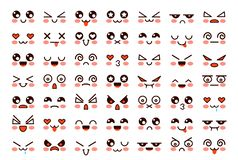 Free Kawaii Faces. Cute Cartoon Emoticon With Different Emotions. Funny Japanese Emoji With Eyes And Mouth, Comic Expressions Royalty Free Stock Images - 159802829