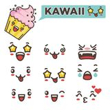 Kawaii faces with positive and negative emotions set Stock Photography