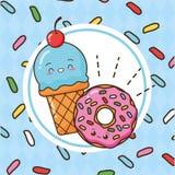 Kawaii fast food. Kawaii ice cream donut fast food vector illustration royalty free illustration