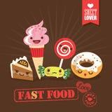 Kawaii fast food sweets candy cartoon characters illustration. Kawaii fast food sweets candy cartoon characters vector illustration Stock Photo