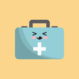 Kawaii first aid kit. Icon over yellow background. colorful design. vector illustration Stock Photo
