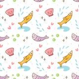 Kawaii-Fische und nahtloses Muster der Seeoberteile stock abbildung