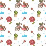 Kawaii flower and bicycle seamless pattern royalty free illustration