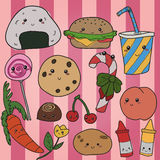 Kawaii food hand drawn Royalty Free Stock Image