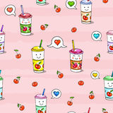 Kawaii food on pink background. Animation characters drawing. Seamless pattern сherry juice Stock Image