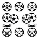 Kawaii football or soccer ball - cute character icons set Stock Photo