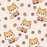 Kawaii Fox Seamless Wallpaper. Stock Photos